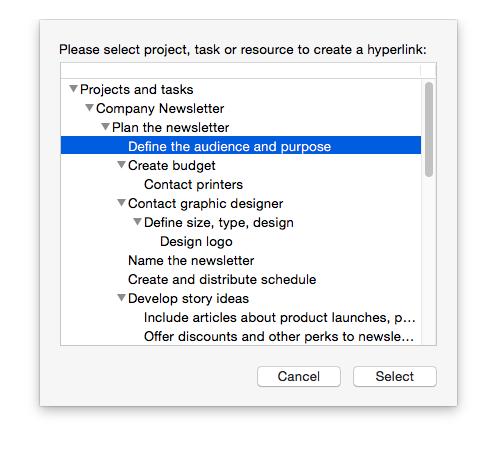 Add hyperlinks between project items