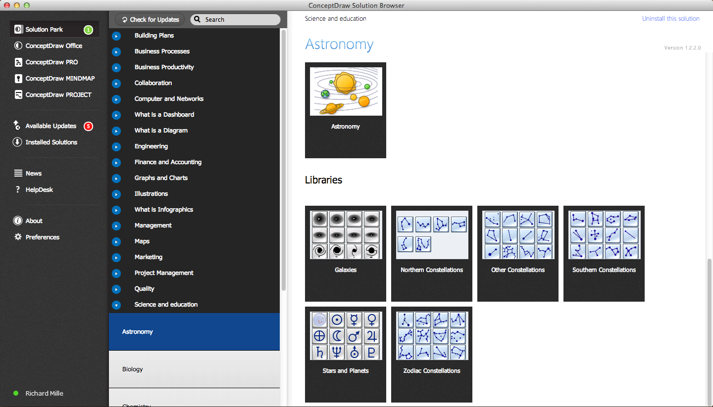 Astronomy Solution in ConceptDraw STORE