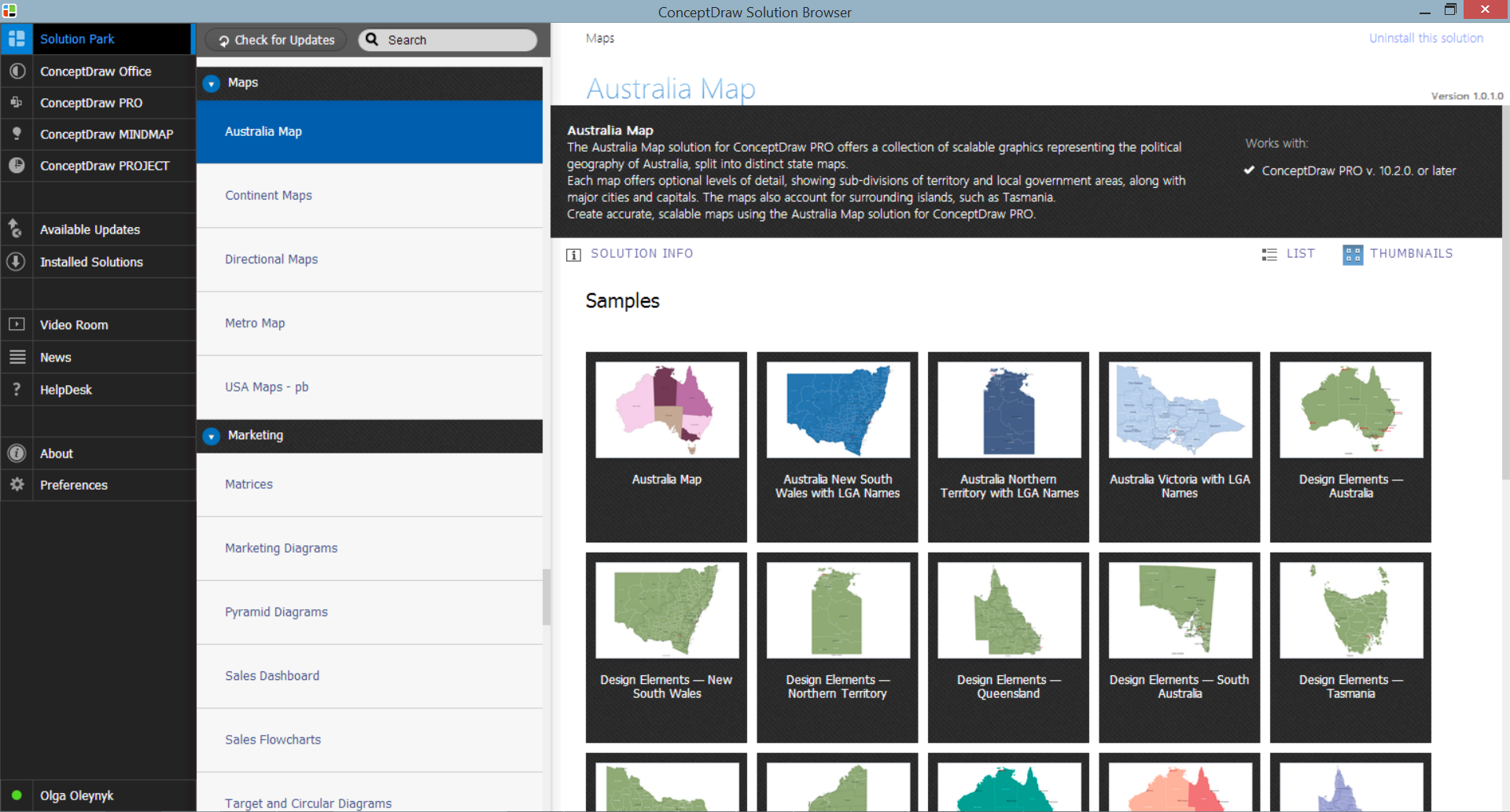 Australia Map Solution in ConceptDraw STORE