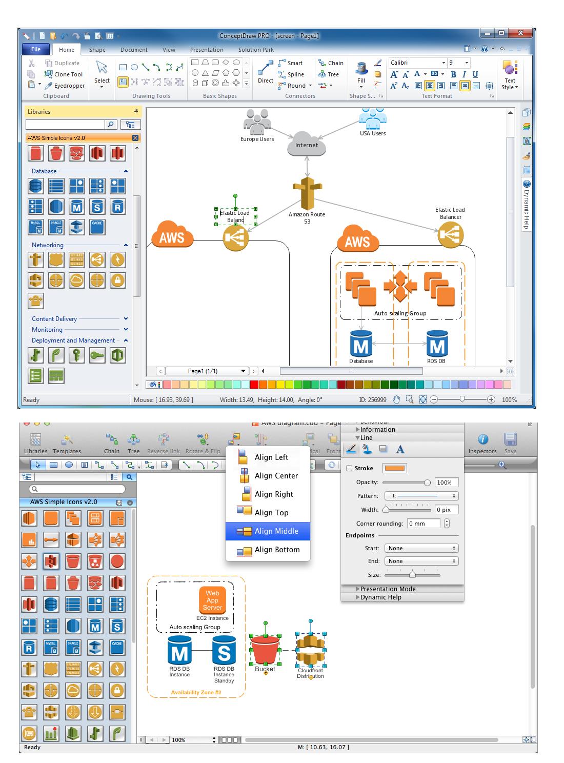 AWS Architecture Diagrams Solution (Mac OS X, Windows)