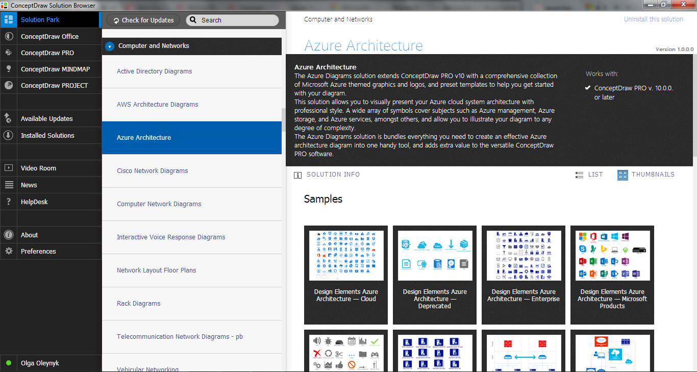 Azure Architecture Solution in ConceptDraw STORE