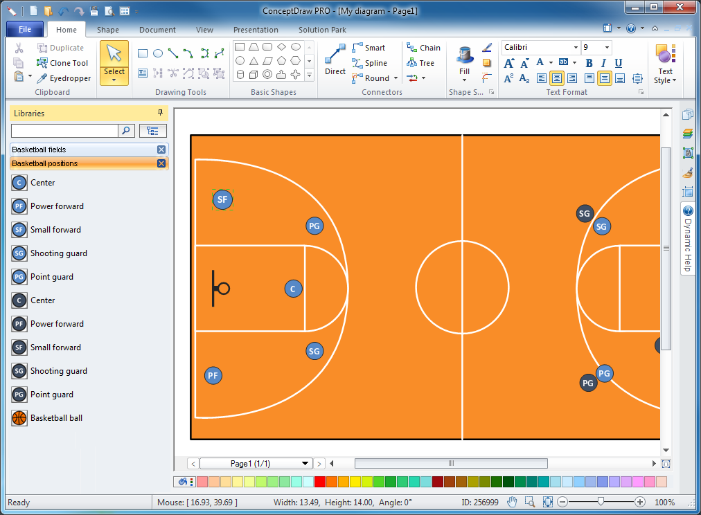 Basketball diagram software periodic diagrams science Easy drawing software
