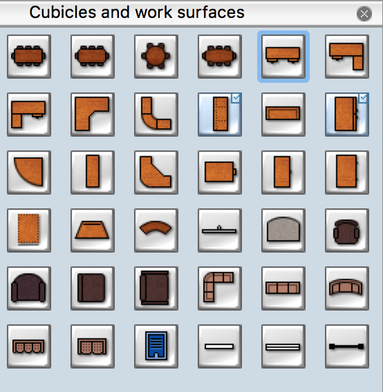 Cubicles and Work Surfaces library for Design Office Layout Plan