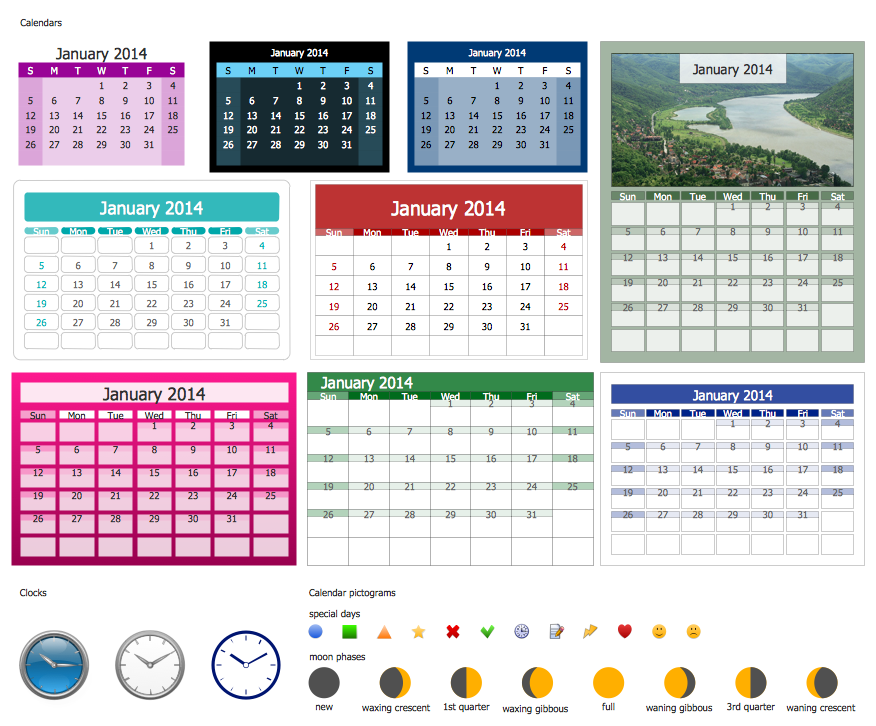 Calendars Library Design Elements
