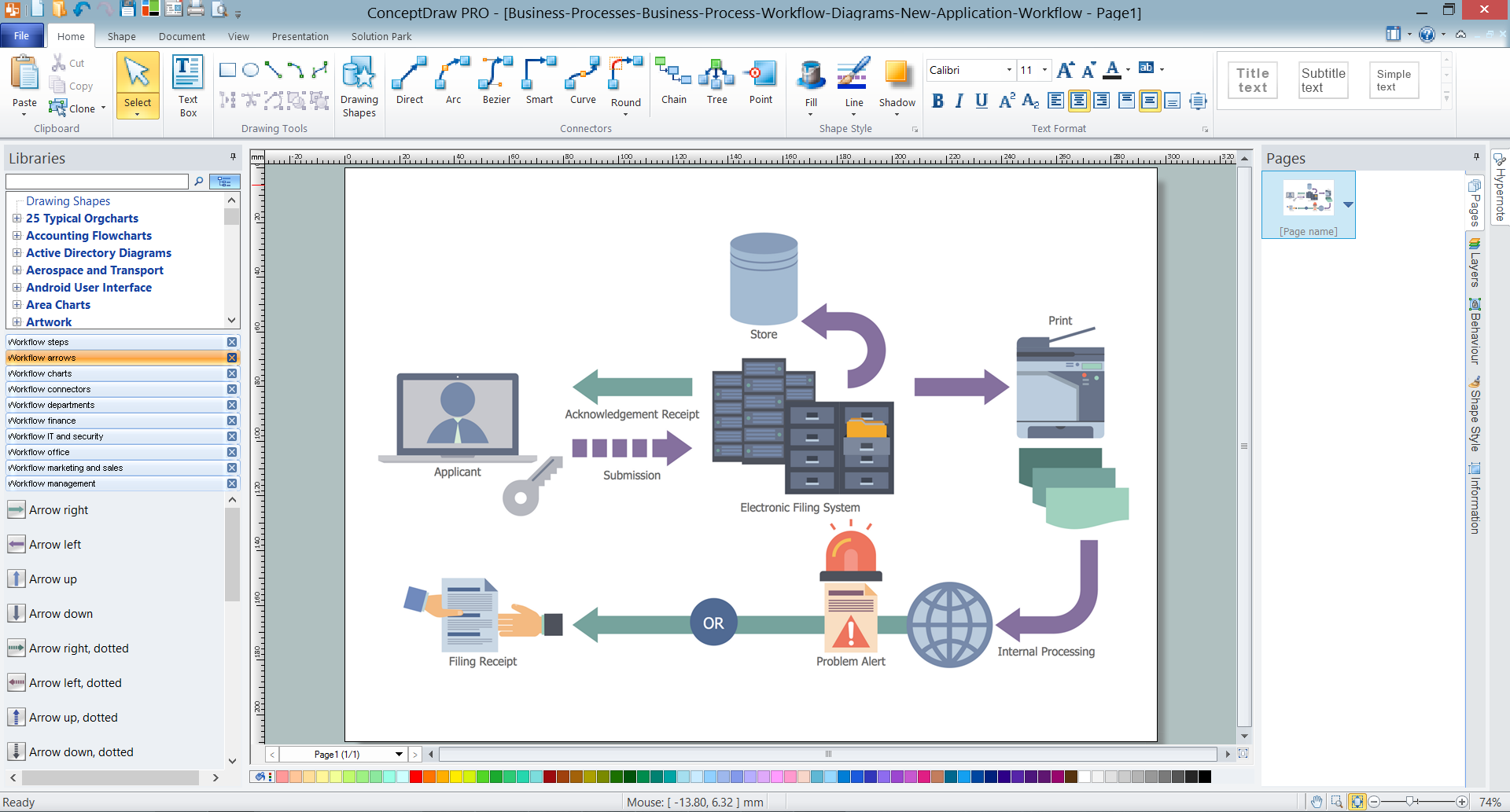 Business Process Workflow Diagram in ConceptDraw DIAGRAM v12  title=