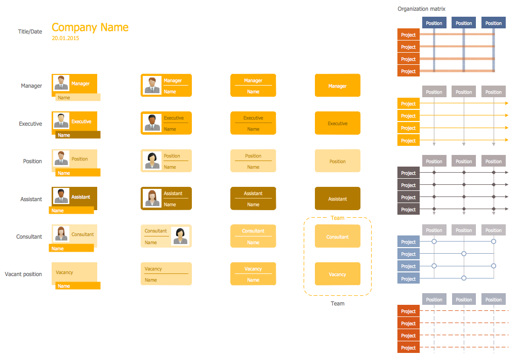 Organizational Chart Library - Design Elements