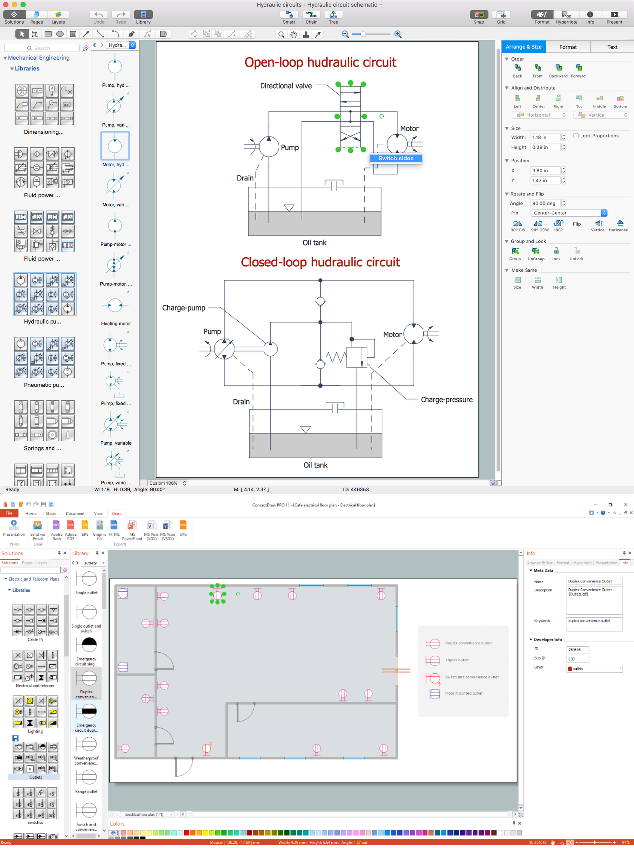 ConceptDraw DIAGRAM software for making mechanic and electrical diagrams for architectural design