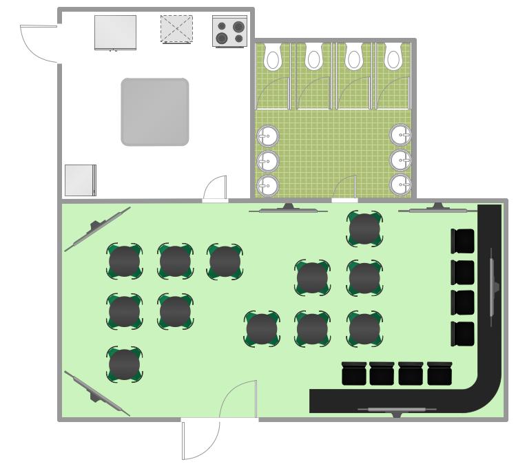 Cafe design for Restaurant layout floor plan samples