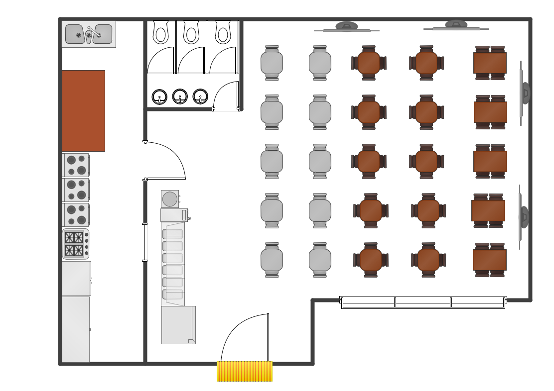 Caf floor plan design software professional building for Restaurant layout floor plan samples