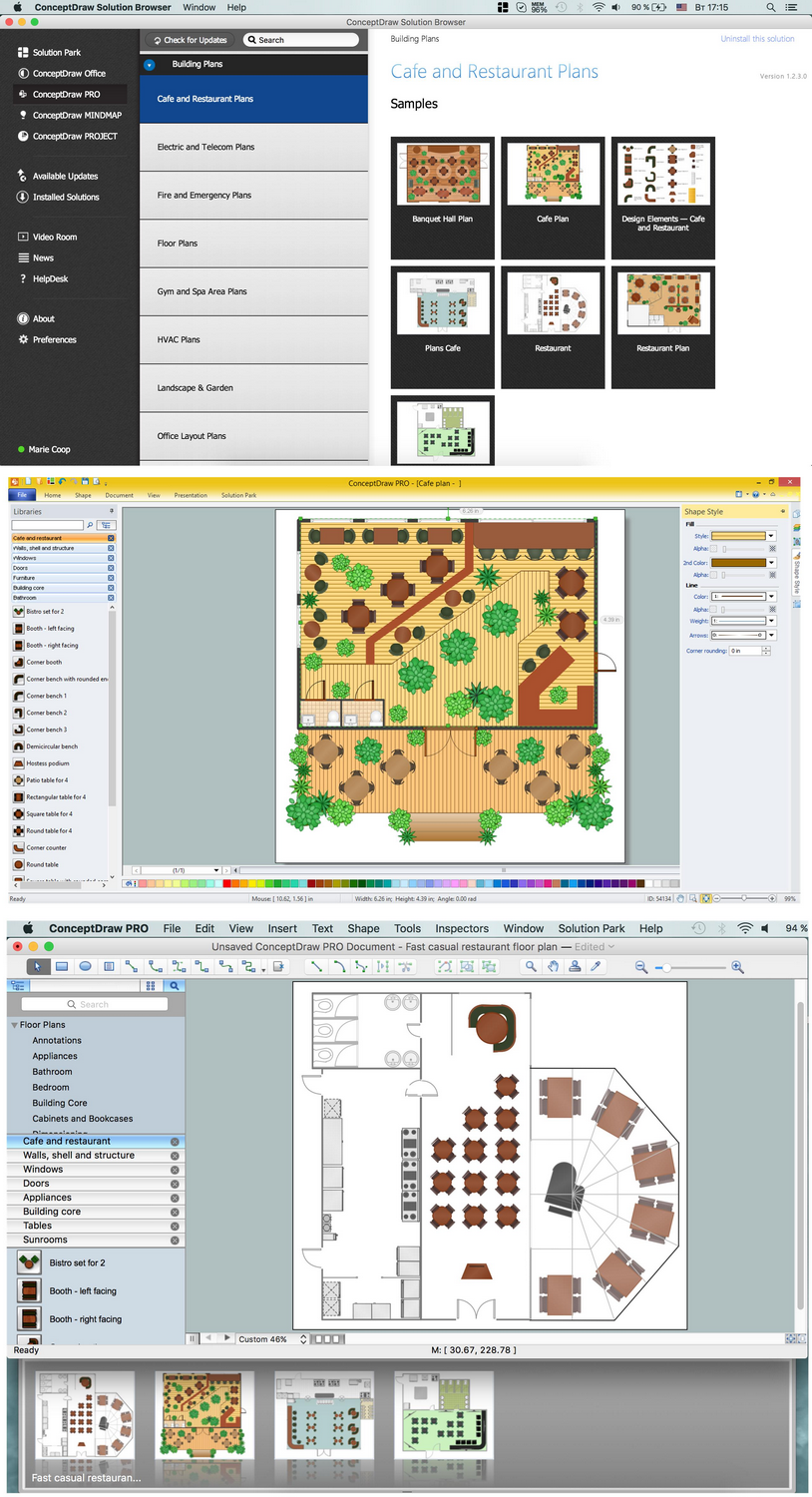 Caf floor plan example professional building drawing for Restaurant design software