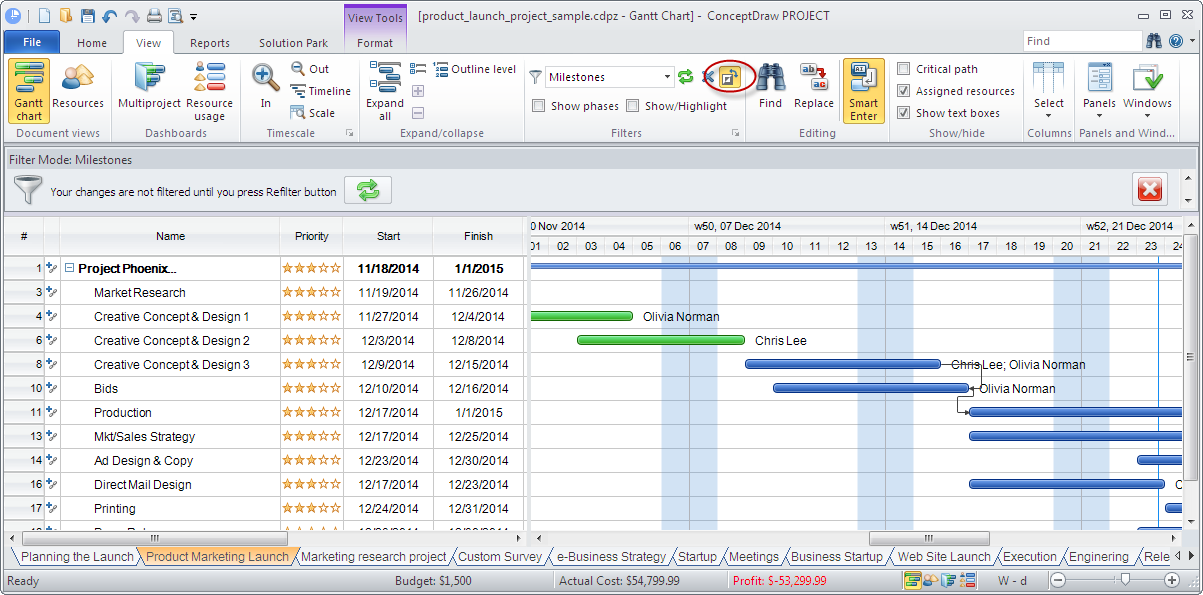 Invert filtering results in ConceptDraw PROJECT