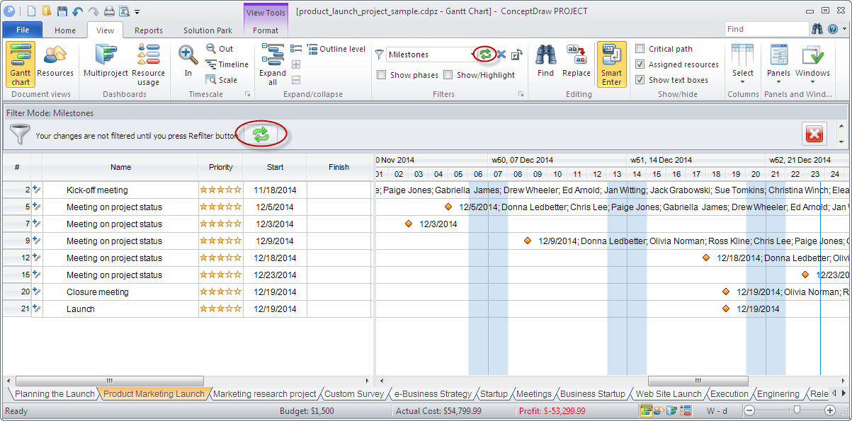 Change filtering options in ConceptDraw PROJECT