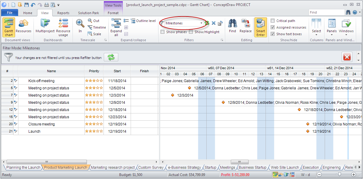 Predefined filters in ConceptDraw PROJECT