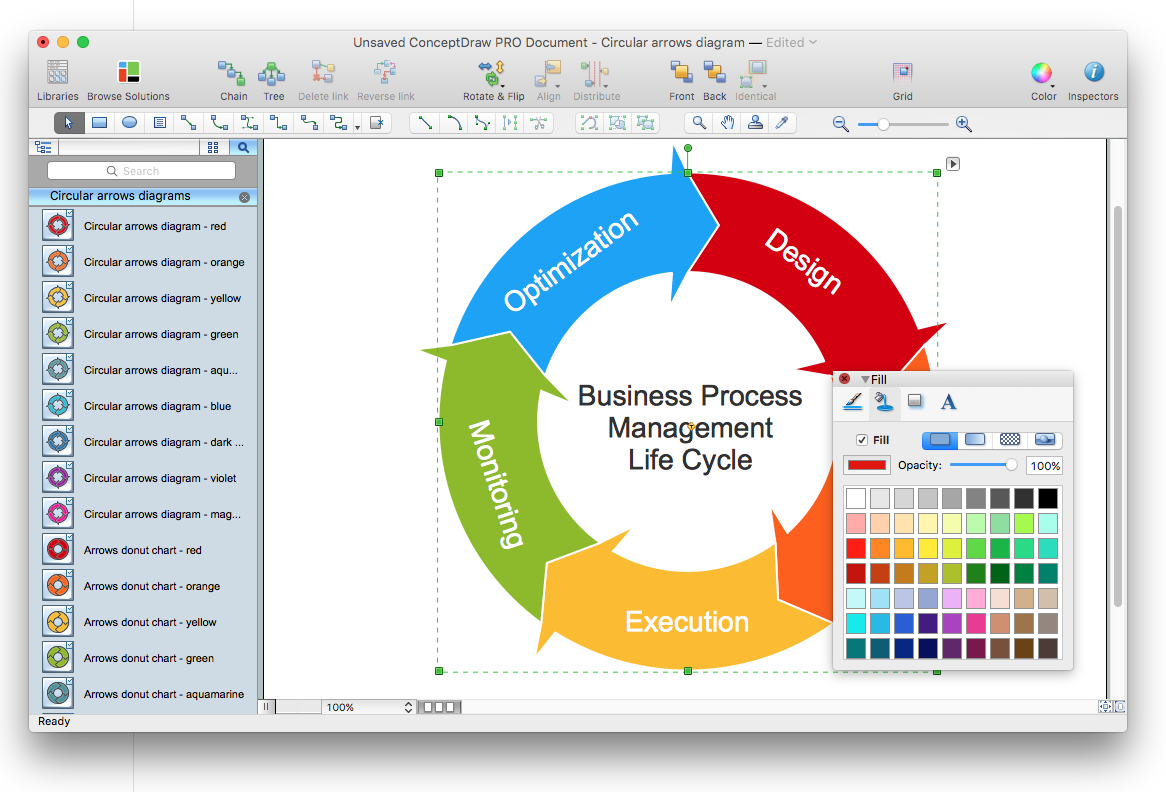 Creating a circular arrows diagram conceptdraw helpdesk make circular arrows diagram ccuart Images