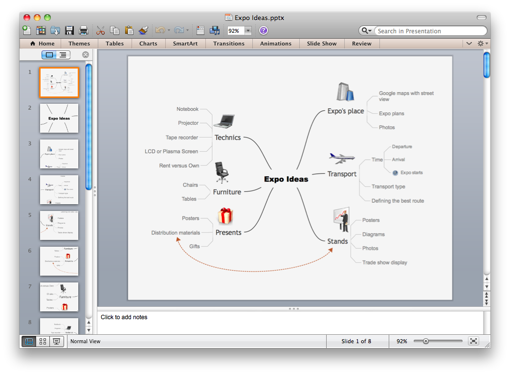 Export from ConceptDraw MINDMAP v10 to PowerPoint