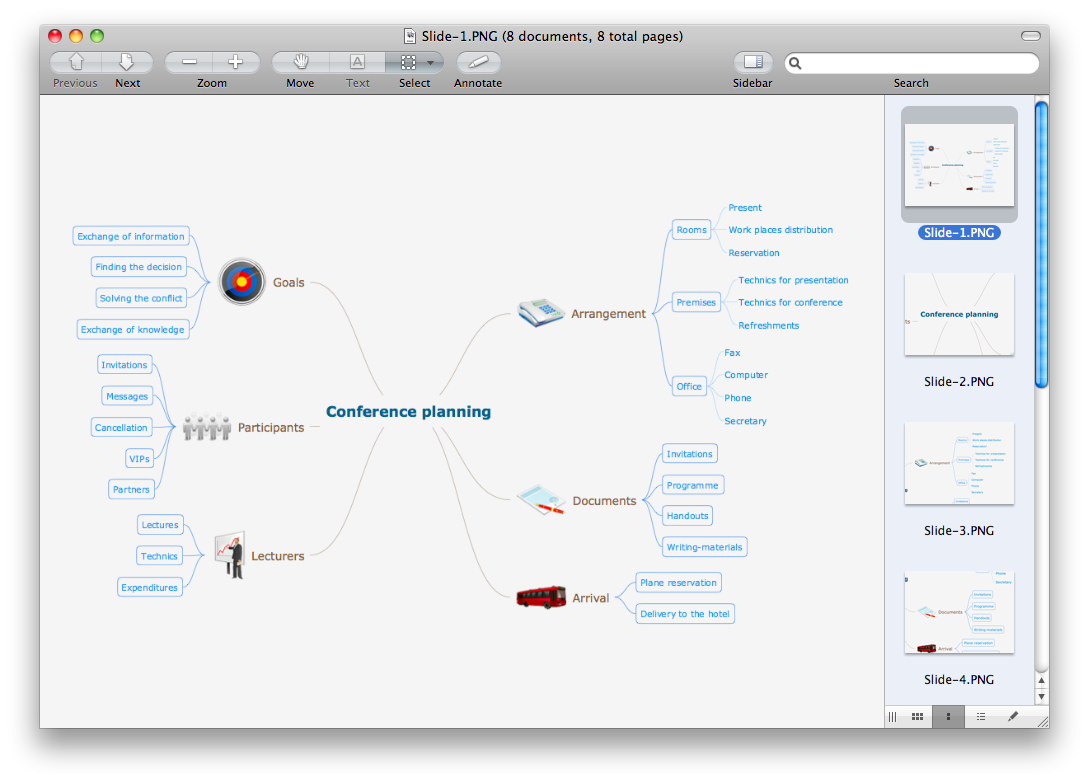 Export from ConceptDraw MINDMAP to a graphic file