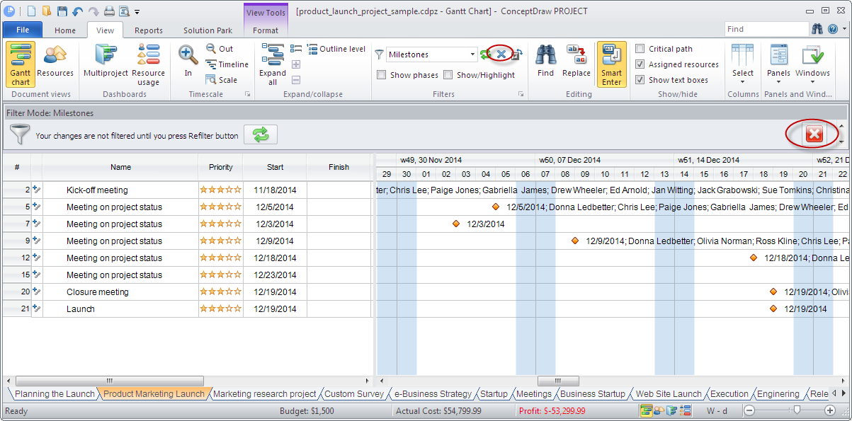 ConceptDraw PROJECT embedded filtering capabilities on Windows