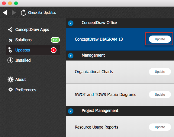 How to update ConceptDraw software on Mac