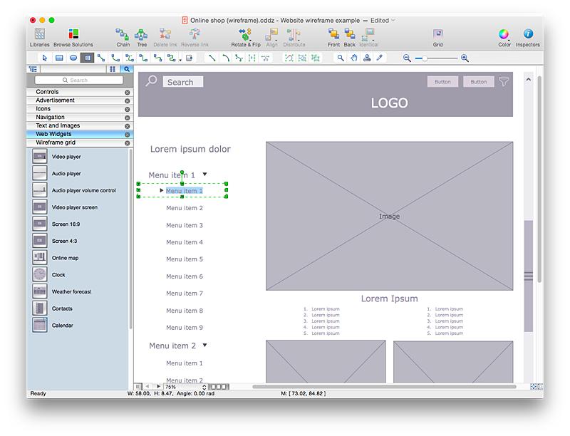 Website wireframe development for Website layout creator