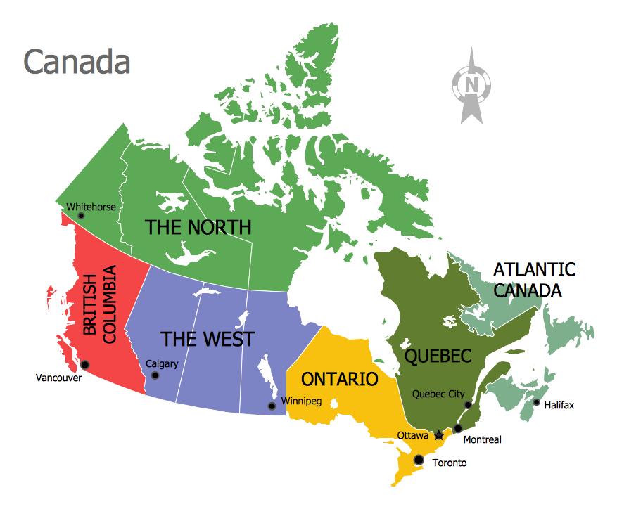 Continent Map - Canada Regions