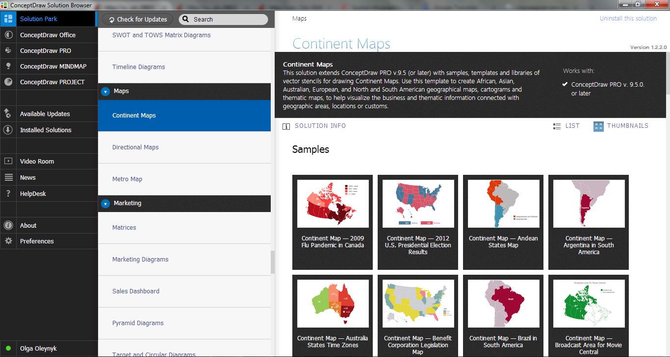 Continent Maps Solution in ConceptDraw STORE