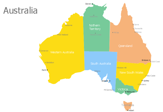 Australia Map with Capitals Template