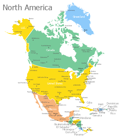 North America Map with Capitals Template