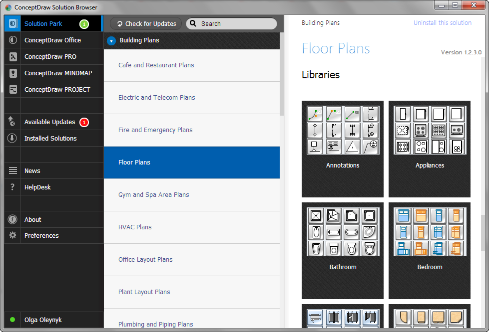 Floor Plans solution's libraries in Solution Browser