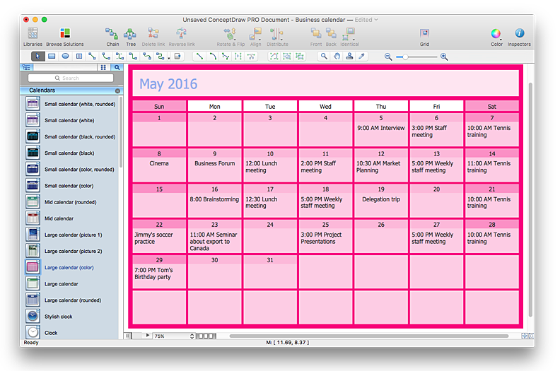 Business Calendar Design : How to create and customize a calendar in conceptdraw pro