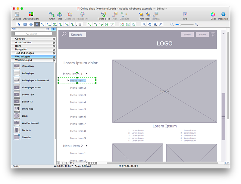 website wireframe how to develop website wireframes using rh conceptdraw com Diagram Wireframe for Web Visio Wireframe Grid