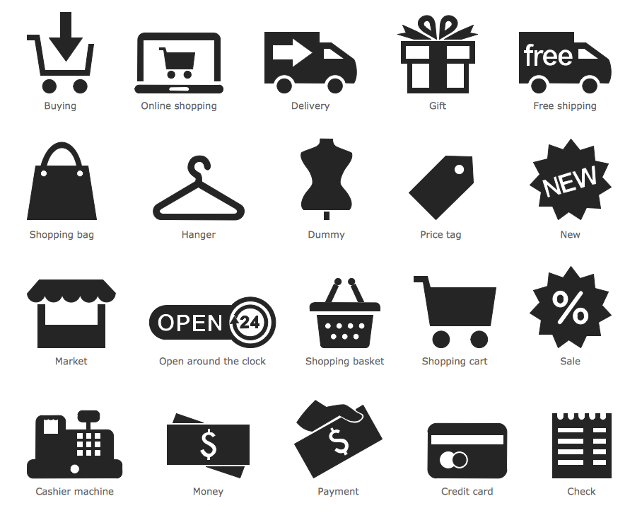 Design Pictorial Infographics - Shopping Pictograms