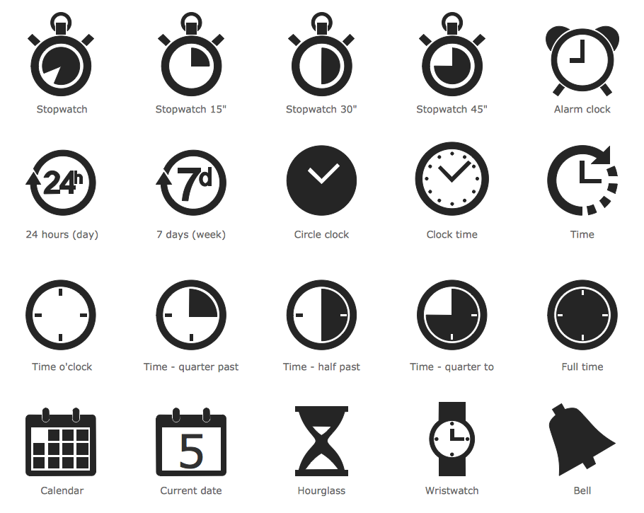 Design Infographics - Time and Clock Pictograms