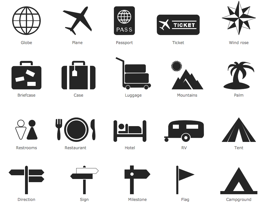 Design Infographics - Travel and Tourism Pictograms