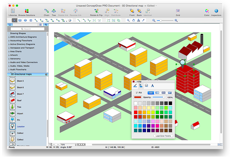 Example of destination map for Commercial building design software