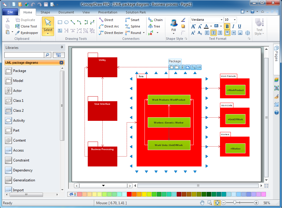 UML package diagram software for win