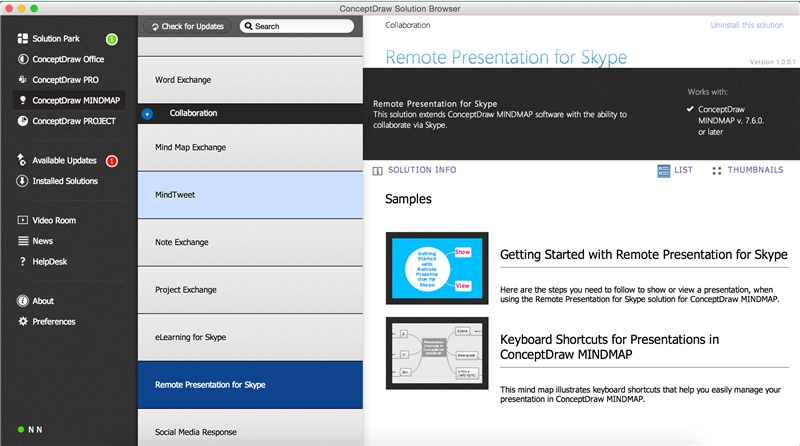 Remote Presentation for Skype Solution in ConceptDraw STORE