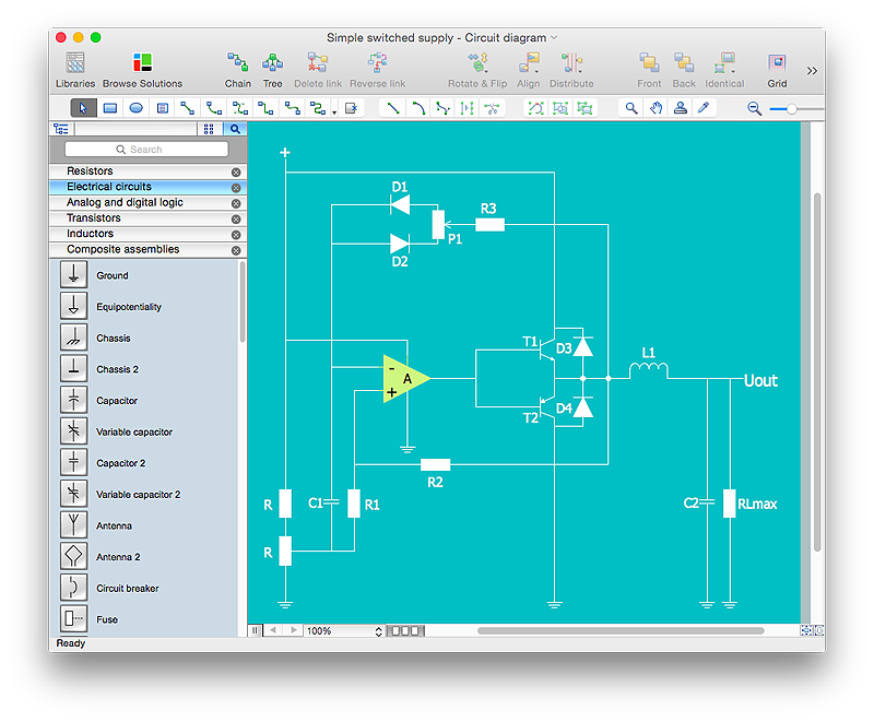 Electrical diagram created with ConceptDraw PRO
