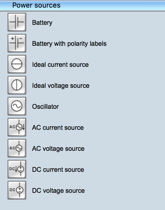 Electrical Symbols Power Sources