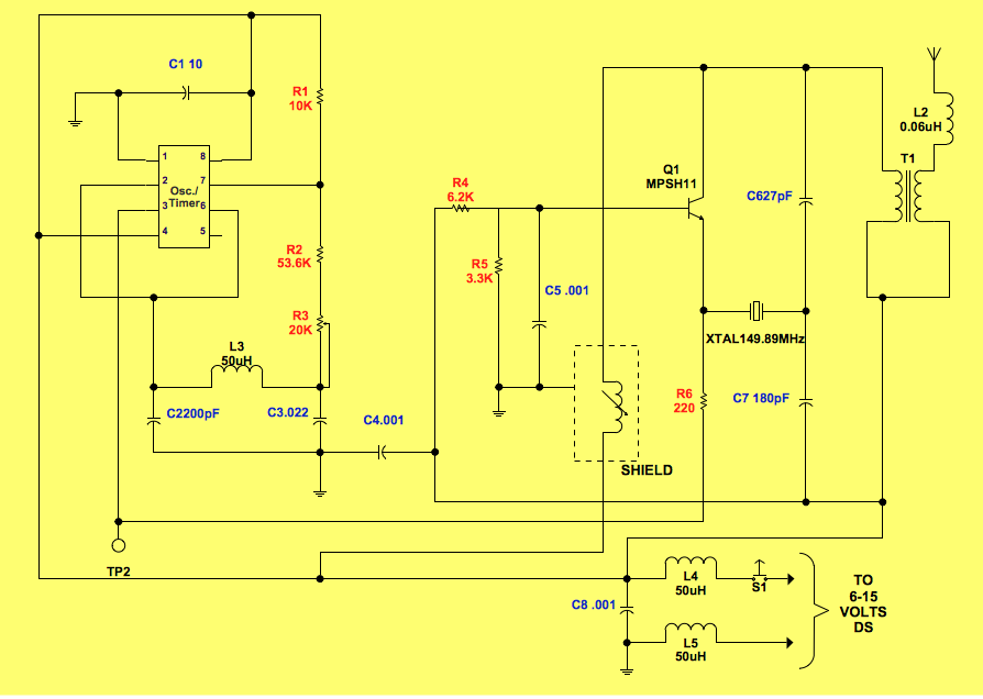 Electrical circuit diagram - Personal pocket pager