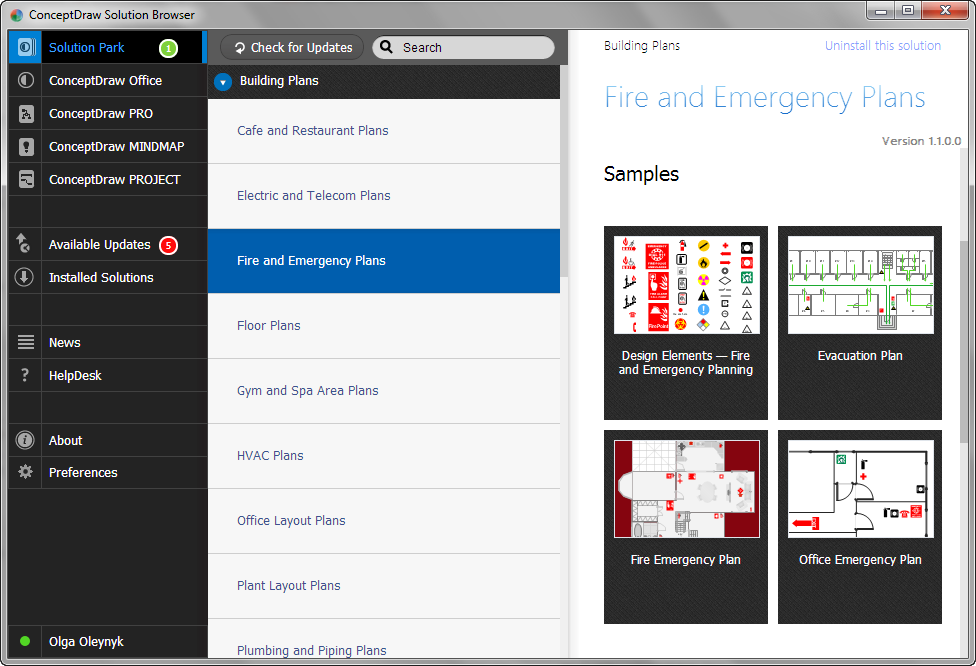 Fire and Emergency Plans Solution in Solution Browser