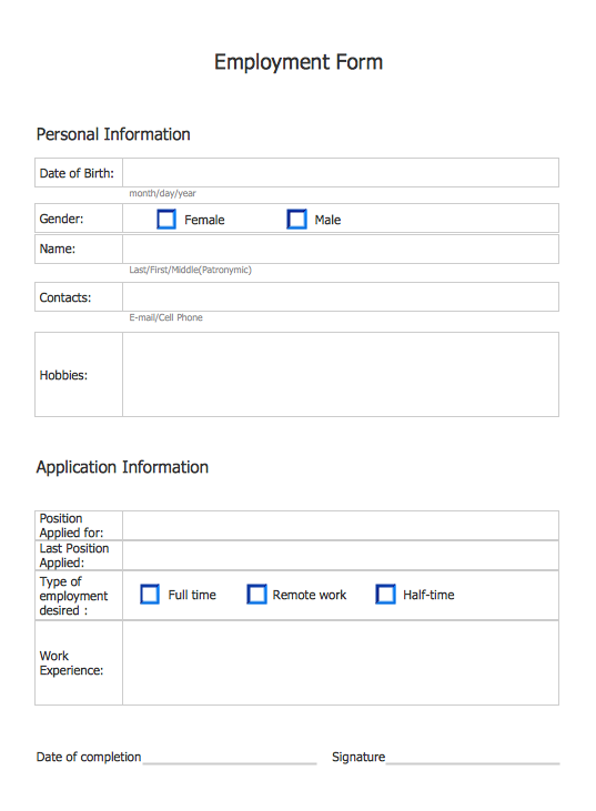 Employment Form Software *