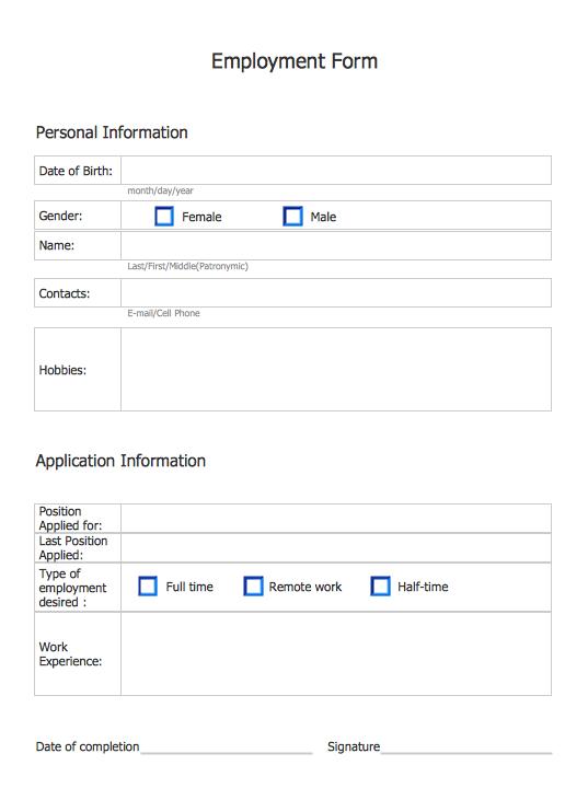 Employment Form Software