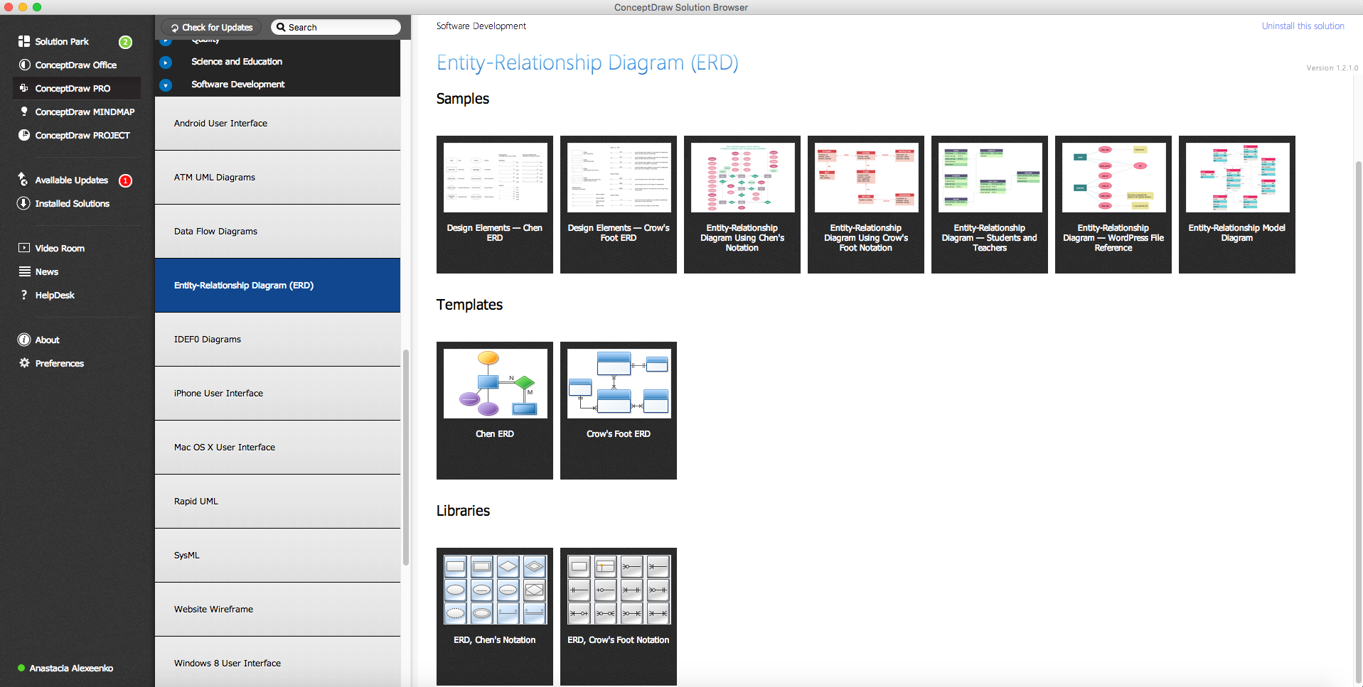 Entity-Relationship Diagram Solution in ConceptDraw STORE