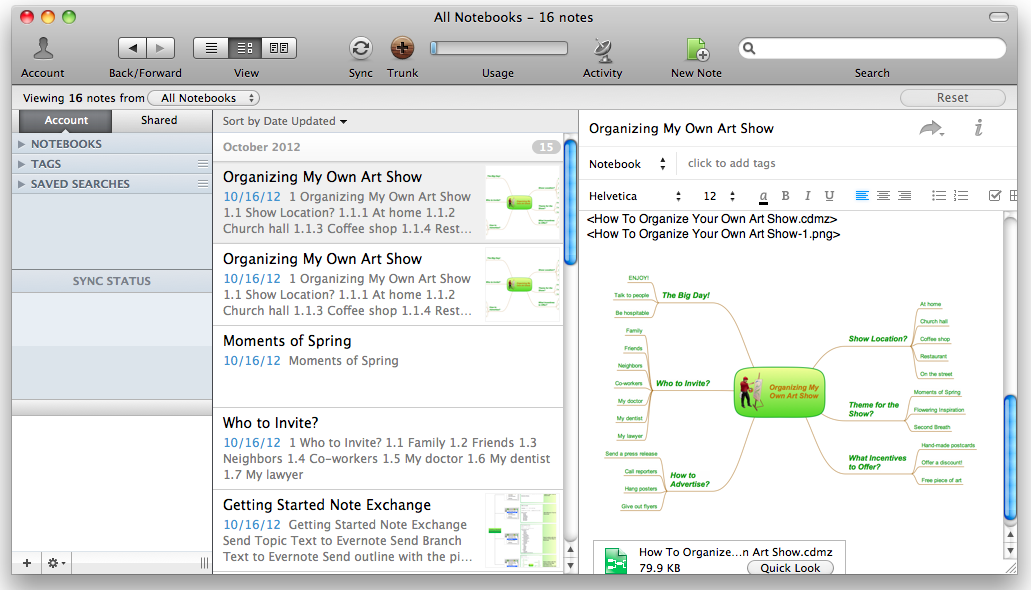 Export from ConceptDraw MINDMAP to Evernote *