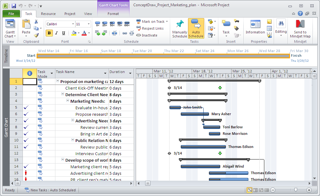 Export ConceptDraw PROJECT  to MS Project