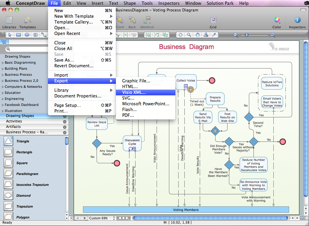 Export of ConceptDraw document to MS Visio XML