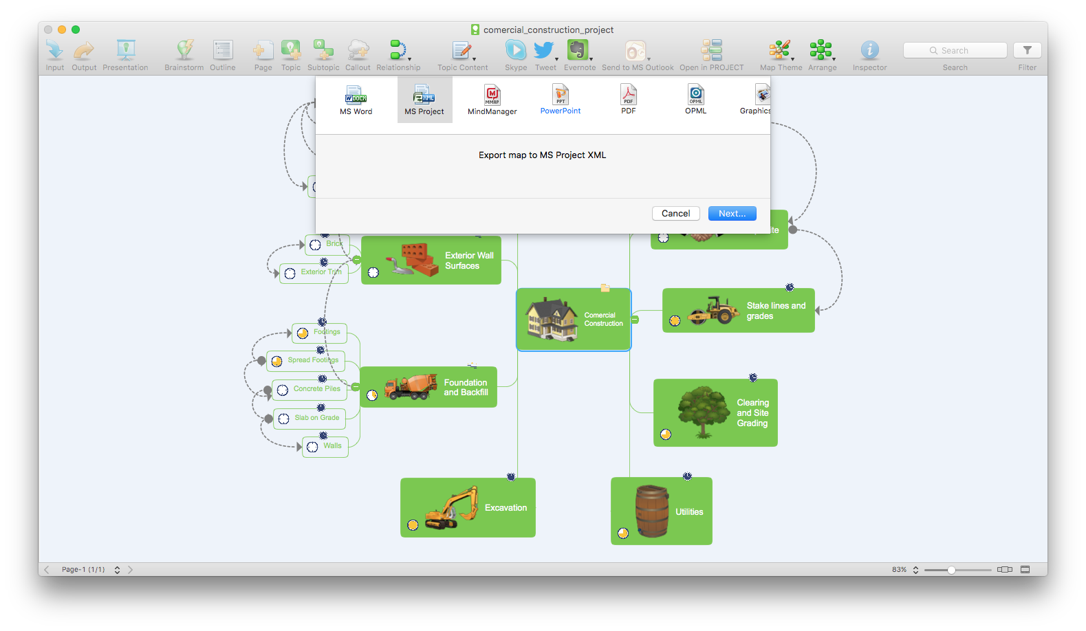mind-map-menu-export-to-project