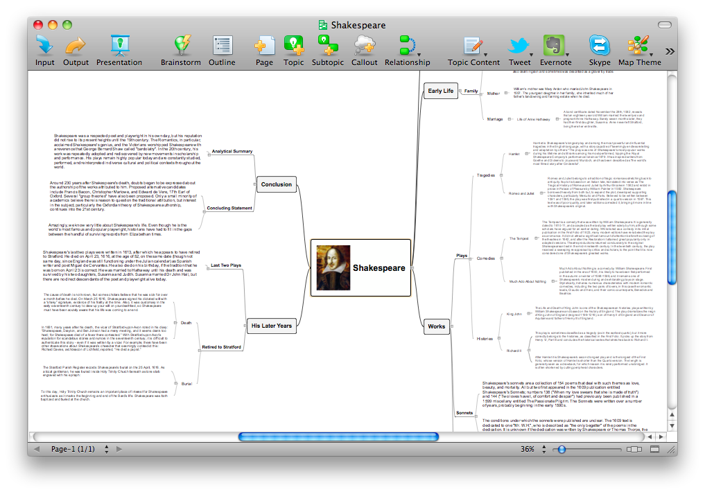 ConceptDraw MINDMAP sample - Shakespeare biography essay