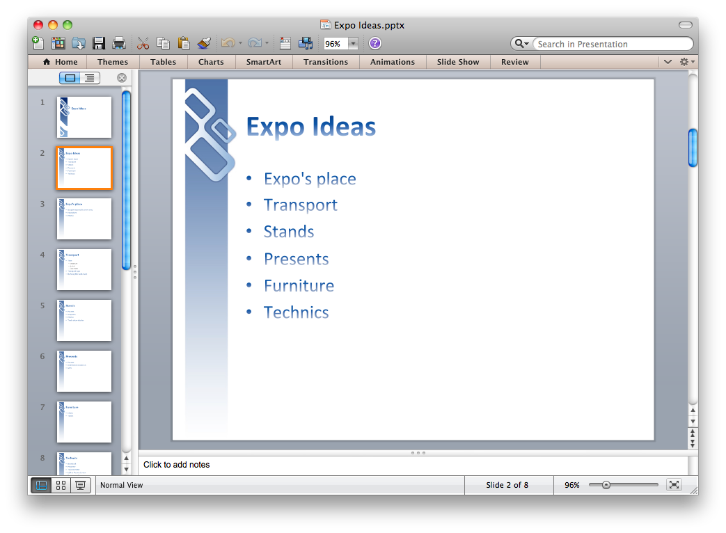 Export outline from ConceptDraw MINDMAP to PowerPoint