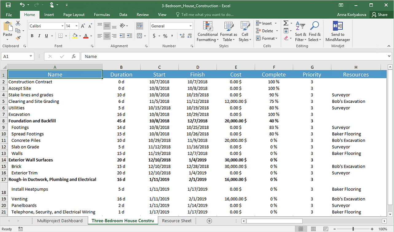 How to Export Project Data to MS Excel